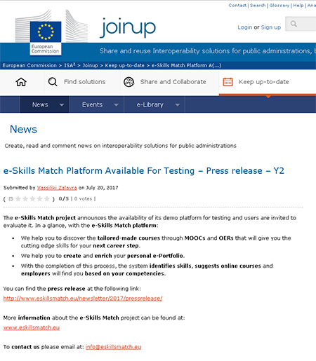 The e-Skills Match 2nd Press release featured on Joinup